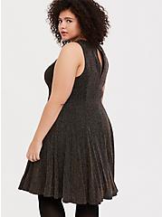 Black & Gold Glitter Stripe Fluted Dress, DEEP BLACK, alternate