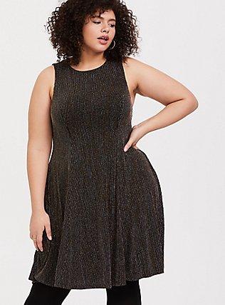 Black & Gold Glitter Stripe Trapeze Dress, DEEP BLACK, hi-res