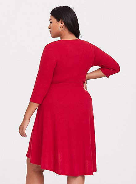 Plus Size Super Soft Plush Red Hi-Lo Skater Dress, JESTER RED, alternate