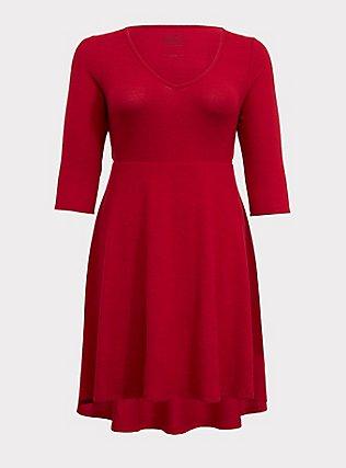 Super Soft Plush Red Hi-Lo Skater Dress, JESTER RED, flat