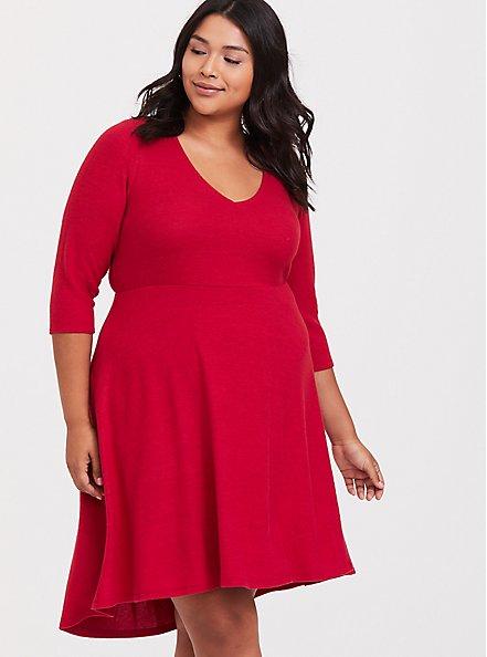 Plus Size Super Soft Plush Red Hi-Lo Skater Dress, JESTER RED, hi-res