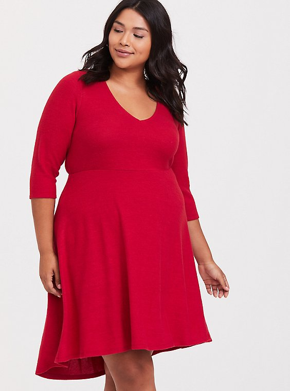 Super Soft Plush Red Hi-Lo Skater Dress, , hi-res