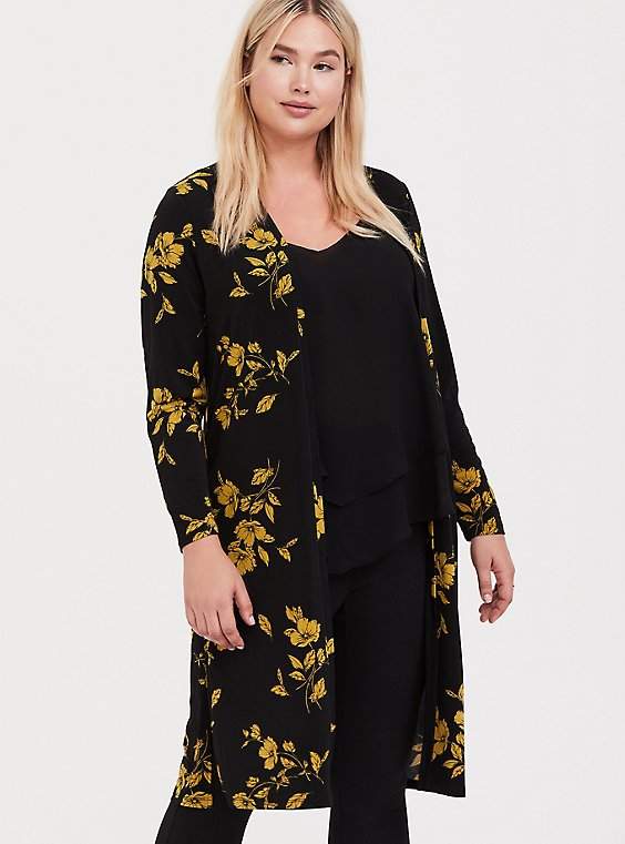 Black & Yellow Floral Studio Knit Longline Cardigan, , hi-res