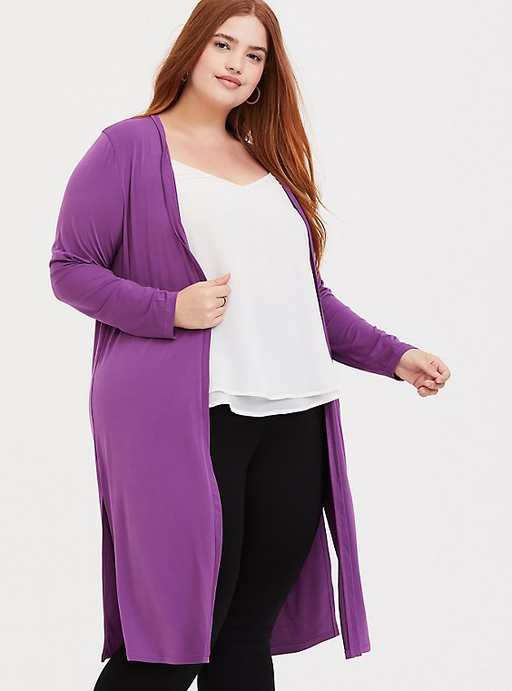 Plus Size Purple Studio Knit Longline Cardigan, , hi-res