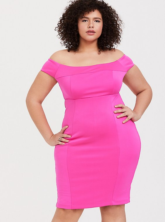 Plus Size Neon Pink Scuba Knit Off Shoulder Bodycon Dress, , hi-res