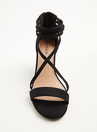 Black Faux Suede Strappy Cone Heel (WW), BLACK, alternate