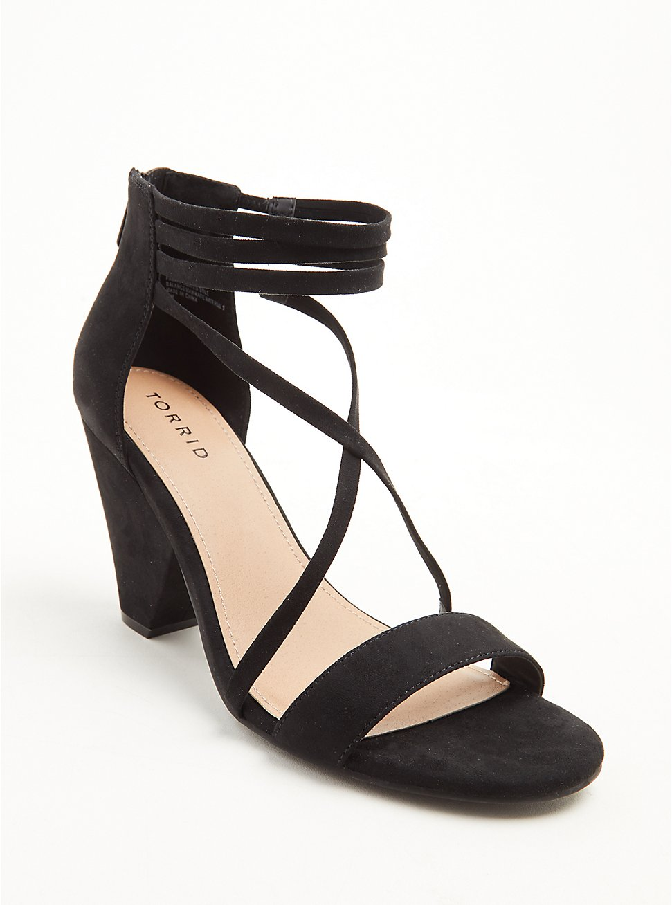 Black Faux Suede Strappy Cone Heel (WW), BLACK, hi-res