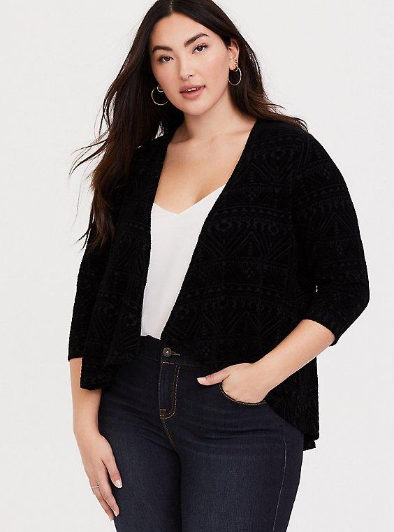 Plus Size Black Jersey Flocked Open Front Crop Cardigan, , hi-res