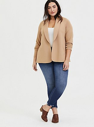 Tan Tie Front Blazer, CAMEL, alternate