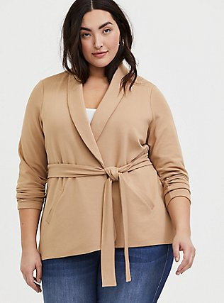 Tan Self-Tie Blazer, CAMEL, alternate