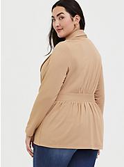 Plus Size Tan Tie Front Blazer, CAMEL, alternate