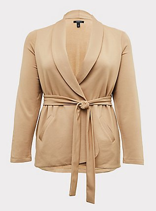 Tan Self-Tie Blazer, CAMEL, flat
