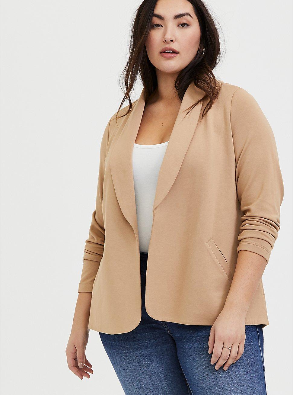 Plus Size Tan Tie Front Blazer, CAMEL, hi-res