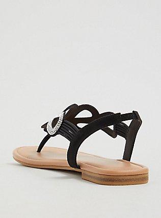 Plus Size Black Rhinestone Cutout Slingback Sandal (WW), BLACK, alternate