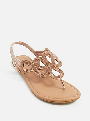 Blush Pink Rhinestone Cutout Slingback Sandal (WW), BLUSH, alternate