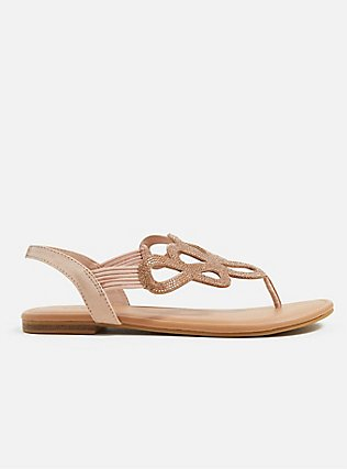 Plus Size Blush Pink Rhinestone Cutout Slingback Sandal (WW), BLUSH, hi-res
