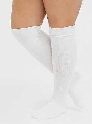 Plus Size Dusty Pink & White Over-The-Knee Sock Pack - Pack of 2, MULTI, alternate