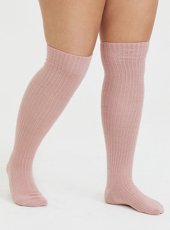 Plus Size Dusty Pink & White Over-The-Knee Sock Pack - Pack of 2, , hi-res