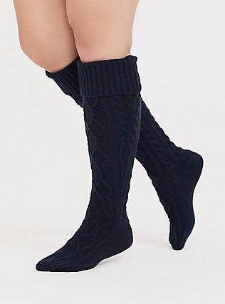Navy Blue Marled Cable Knit Knee-High Socks, NAVY, hi-res