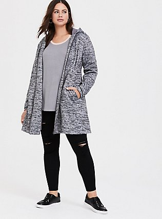 Grey Space-Dye Hacci Hooded Fit & Flare Coat, GREY, alternate
