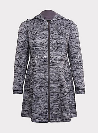 Grey Space-Dye Hacci Hooded Fit & Flare Coat, GREY, flat