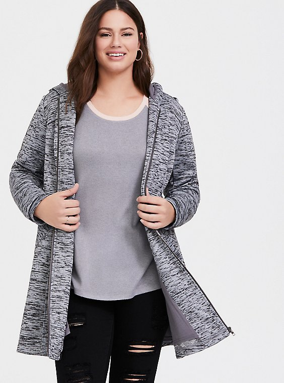 Plus Size Grey Space-Dye Hacci Hooded Fit & Flare Coat, , hi-res