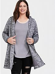 Plus Size Grey Space-Dye Hacci Hooded Fit & Flare Coat, GREY, hi-res