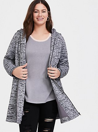 Grey Space-Dye Hacci Hooded Fit & Flare Coat, GREY, hi-res