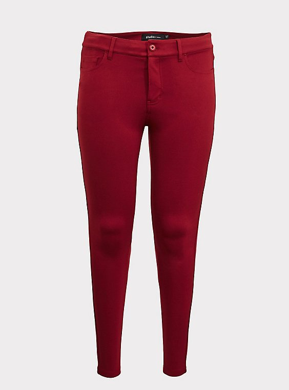 Studio Premium Ponte Stretch Skinny Pant - Dark Red, , flat