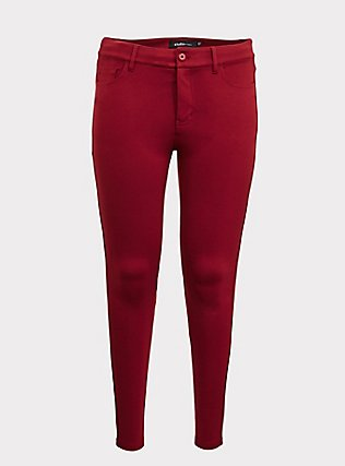 Studio Premium Ponte Stretch Skinny Pant - Dark Red, BIKING RED, flat