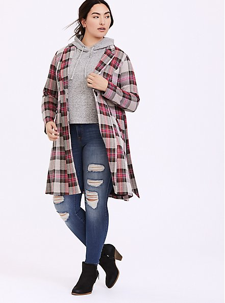 Pink Plaid Longline Blazer, PLAID, alternate