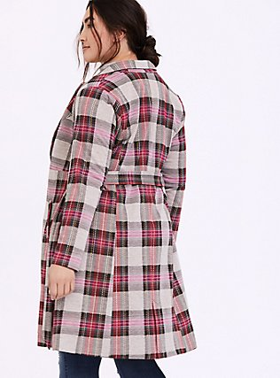 Pink Plaid Longline Blazer, PLAID, alternate