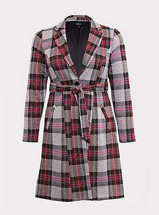 Pink Plaid Longline Blazer, PLAID, flat