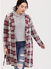 Pink Plaid Longline Blazer, PLAID, hi-res