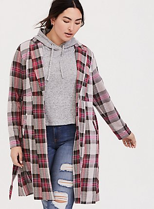 Pink Plaid Longline Blazer, PLAID, hi-res