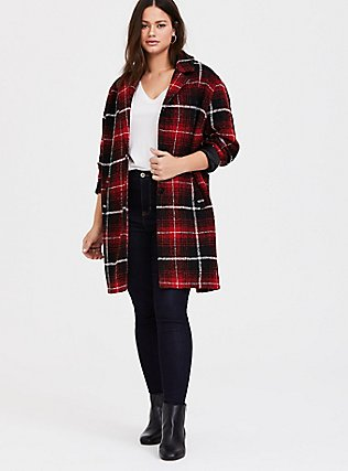 Red & Black Plaid Woolen Wedge Coat, PLAID, alternate