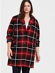 Red & Black Plaid Woolen Wedge Coat, PLAID, alternate