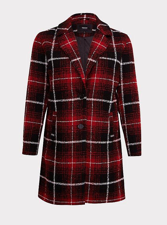 Plus Size Red & Black Plaid Woolen Wedge Coat, , flat