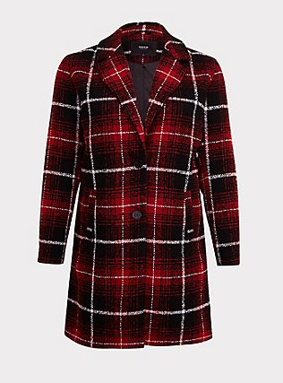 Red & Black Plaid Woolen Wedge Coat, PLAID, flat
