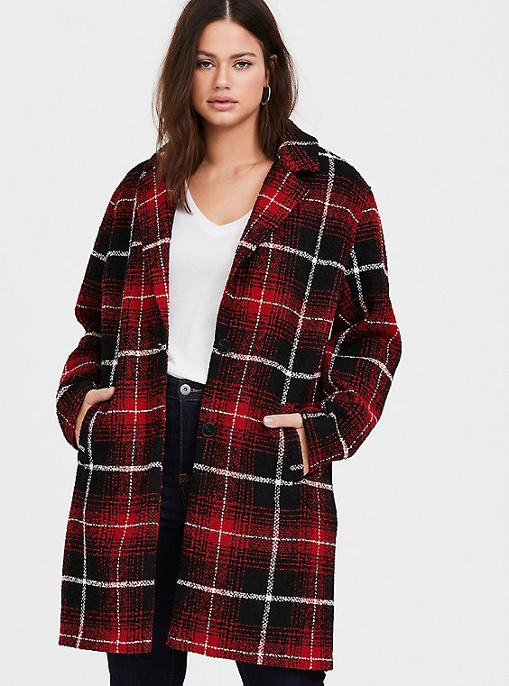 Red & Black Plaid Woolen Wedge Coat, , hi-res