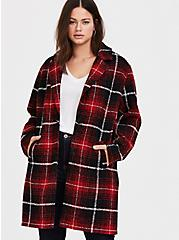 Red & Black Plaid Woolen Wedge Coat, PLAID, hi-res