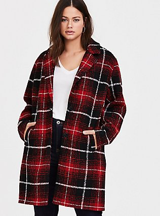 Red & Black Plaid Woolen Wedge Coat, PLAID, hi-res