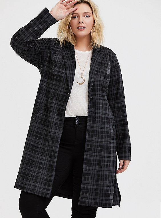 Grey Plaid Double-Knit Longline Blazer, , hi-res