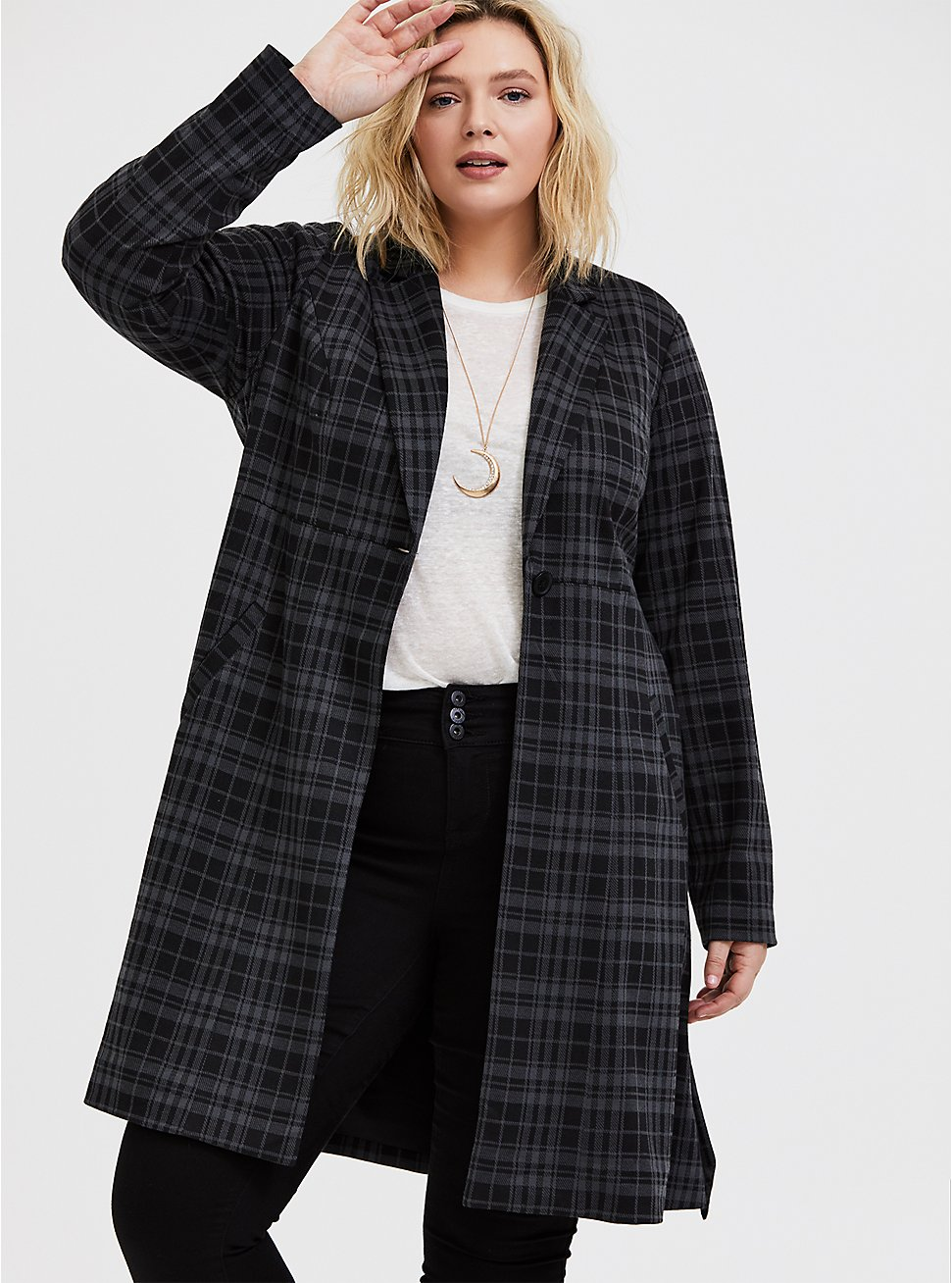 Grey Plaid Double-Knit Longline Blazer, PLAID, hi-res