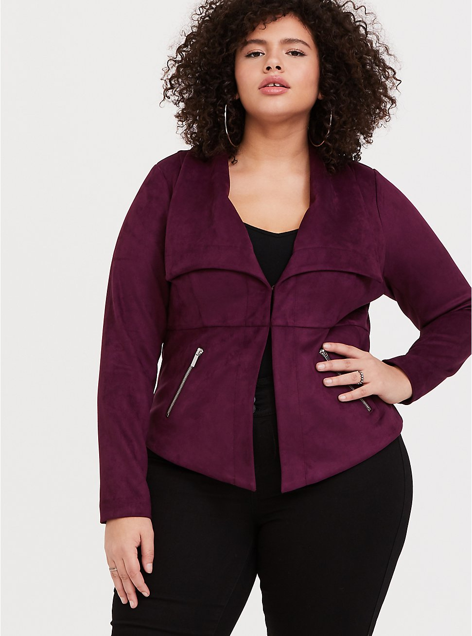 Burgundy Purple Faux Suede Jacket 4