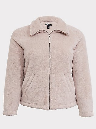 Tan Faux Sherpa Teddy Jacket, SILVER CLOUD, flat