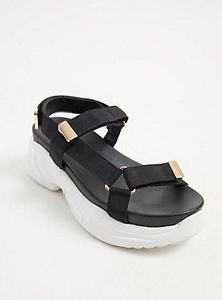 Plus Size Black & Gold-Tone Sneaker Sole Sandal (WW), BLACK, alternate