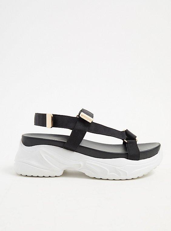 Plus Size Black & Gold-Tone Sneaker Sole Sandal (WW), , hi-res