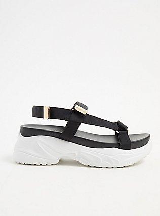 Plus Size Black & Gold-Tone Sneaker Sole Sandal (WW), BLACK, hi-res