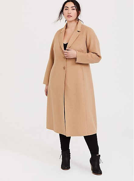 Taupe Woolen Button Front Duster Coat, WARMED STONE, alternate